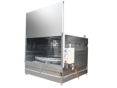 Front Loader Spray washers, spray cabinet industrial spare parts washer cleaning machine, front loader washer, parts cleaning machine, automotive part washer manufacturer. YM-2500/3000 Rotating Basket Shock Pneumatic Parts Washing Machines